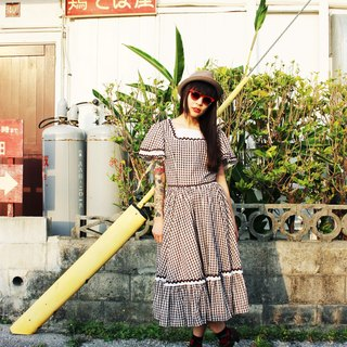F714 (Vintage) fine white checkered wavy brown skirt cotton short-sleeved vintage dress