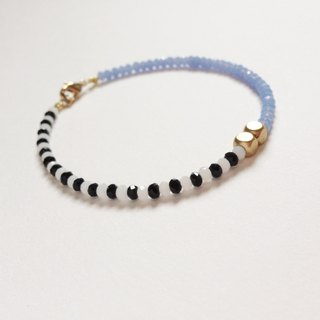 """KeepitPetite"" black and white blue design · Jie Keqie surface beads, brass Bracelet Wristband"