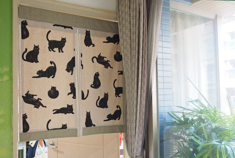 howslife home has A meow series - cat language Patchwork furnishings curtain