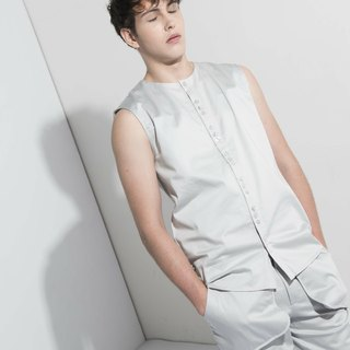 Sevenfold * Multi-buckle sleeveless shirt (Light Gray), subtract sleeveless shirt (light gray)