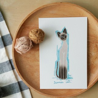 "siam cat illustration postcard from THAILAND 4""x6"""