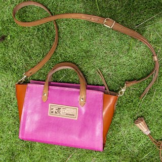 Bump peach bump orange vegetable-tanned leather full leather pure hand tote bag with wood tassel accessories