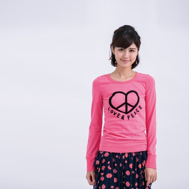 Love & Peace peach female cotton long-sleeved T rose pink