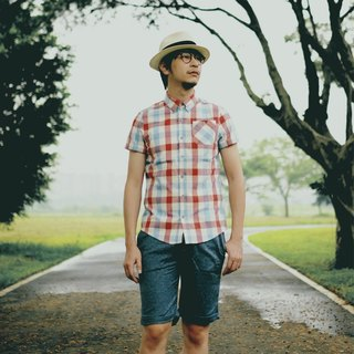 Japanese hand-woven plaid short-sleeved shirt