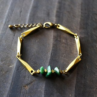 Muse natural wind series NO.163 South Africa jade green bracelet gravel section brass