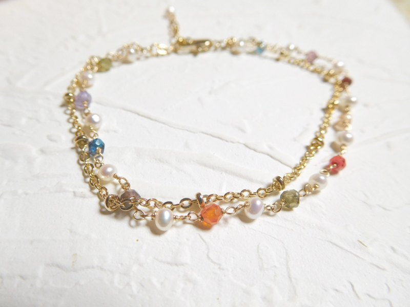 Colored gemstones pearl bracelet Japanese 14K gold