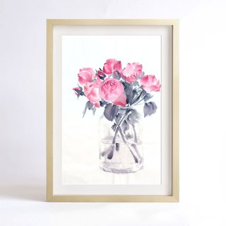 "Copy of original ink painting ""Silent as Enigma"" - A bloom (Rose) - Home decorative painting (painting copy) (excluding frame)"