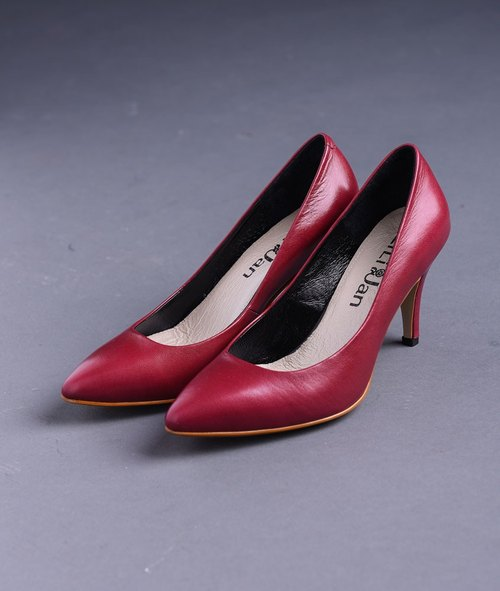 [Sum] Micro Toe fashion sexy thin heels _ Berry pointed muted burgundy
