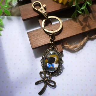 [Customer] gorgeous classic (ellipse/bronze)/single-sided photo/embellished/photo keyring