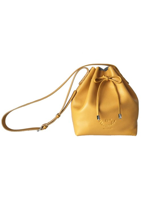 Classic Bucket 'S' Yellow Women Shoulder Leather Bag And Cross Body Bag