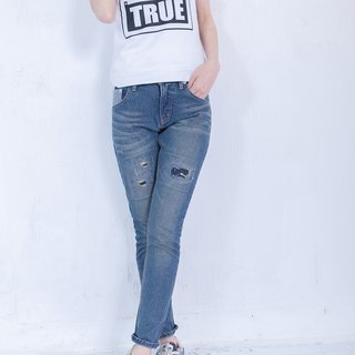 SU:MI said hand-made series. Patch damage jeans 4SF702_丹宁