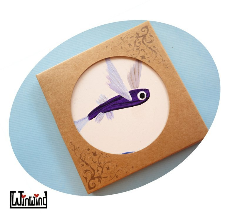 And winged flying fish hand-painted murals * absorbent coasters