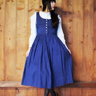 F855 (Vintage) Dark blue delicate white dotted red piping cotton vest dress (Austrian traditional Dirndl)