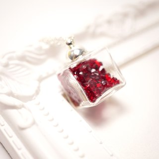 A Handmade dark red cube glass necklace