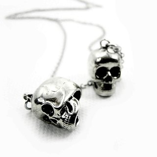 Zodiac pendant Twins skull for Gemini in white bronze and oxidized antique color ,Rocker jewelry ,Skull jewelry,Biker jewelry