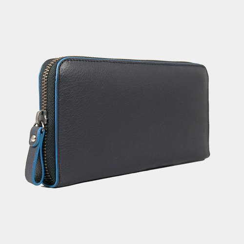 Baimiao Leather Zip Wallet – Black Blue