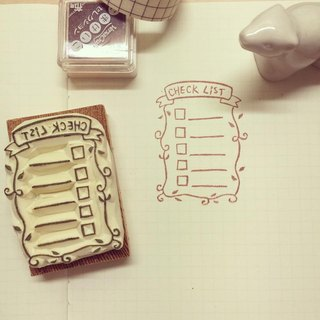 check list eraser stamp*handmade*rubber stamp*handmade stamp*hand carved