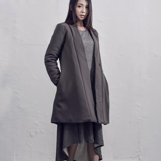 Long-sleeved cotton clip in the jacket / gray