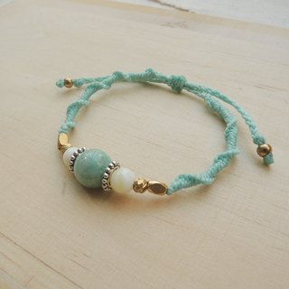 Touch of green / natural stone x Brazil wax line silk bracelet