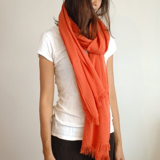 Cotton Monochrome Scarf - Orange