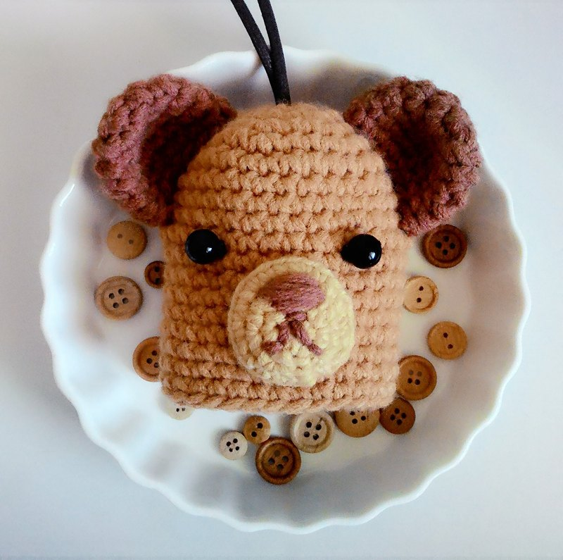 Crochet wool bear key fob / key sets - A milk carton packaging design Christmas gift exchange