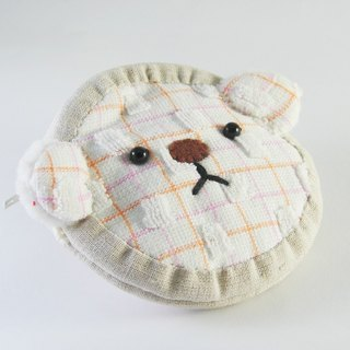 Cheerful terry cloth bear zip coin purse square white