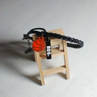 Basketball calfskin Bracelet + Small logo [school name or name + back number]