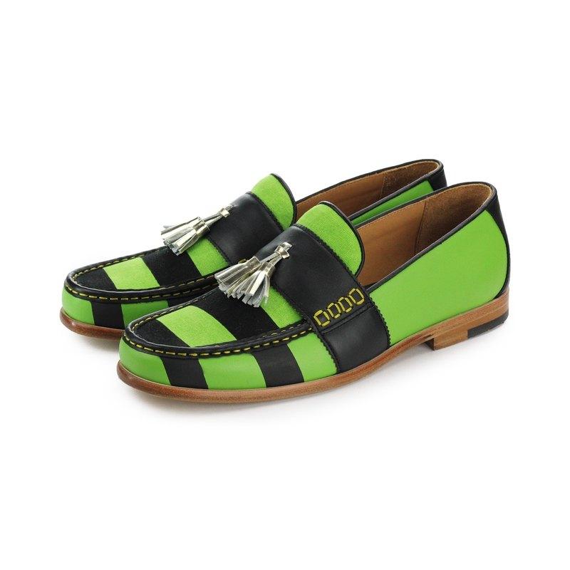Sweet Villians M1112 手工真皮線條樂福鞋 黑綠色