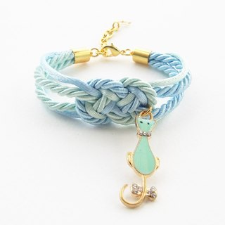 Blue and mint nautical bracelet with mint kitten charm.