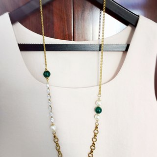 Minertés Green Agate. Zircon. Brass Necklace