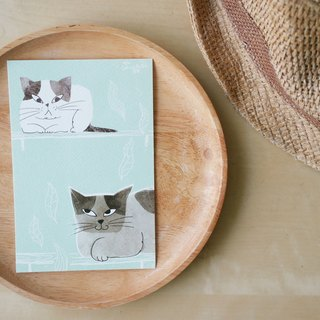 "Two cat illustration postcard 4""x6"""