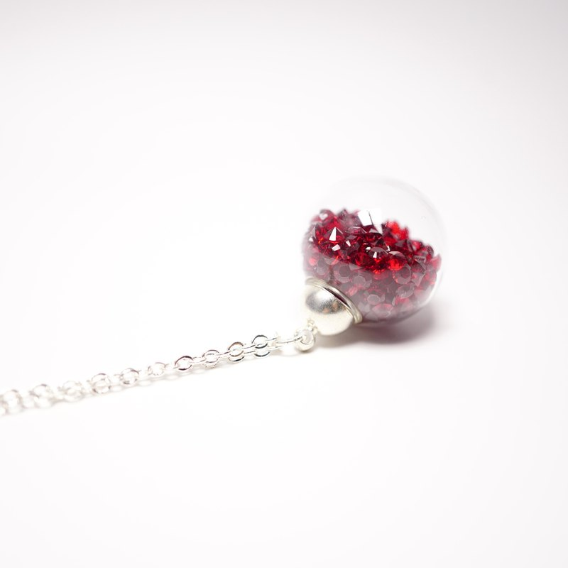 A Handmade 紅色水晶玻璃球頸鏈