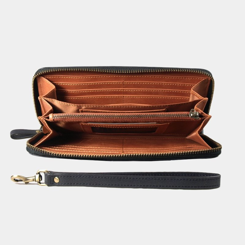 Montage Zip Leather Wallet with Wrist Strap - Black blue / Orange