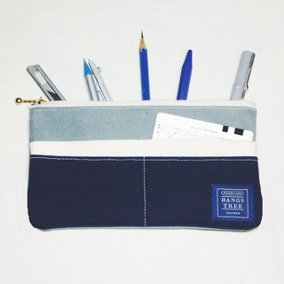 ::Bangstree:: Multifunctional Pencil case- gray+white+dark blue