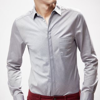 Men Slim Fit Shirt (Light Grey)