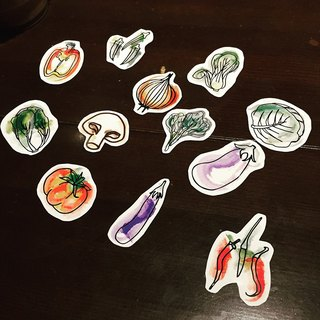 C'est trop Mignon \\ painted stickers stickers * Eat more vegetables vegetable stickers