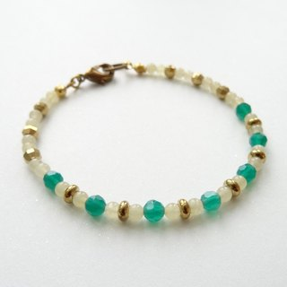 ::A Pinch of Glitter:: Green Agate, Yellow Jade Beaded Brass Bracelet (B)