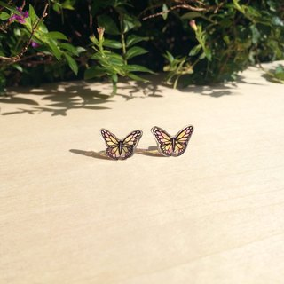 * Haku‧Neko * Pink yellow hand-painted butterfly earrings