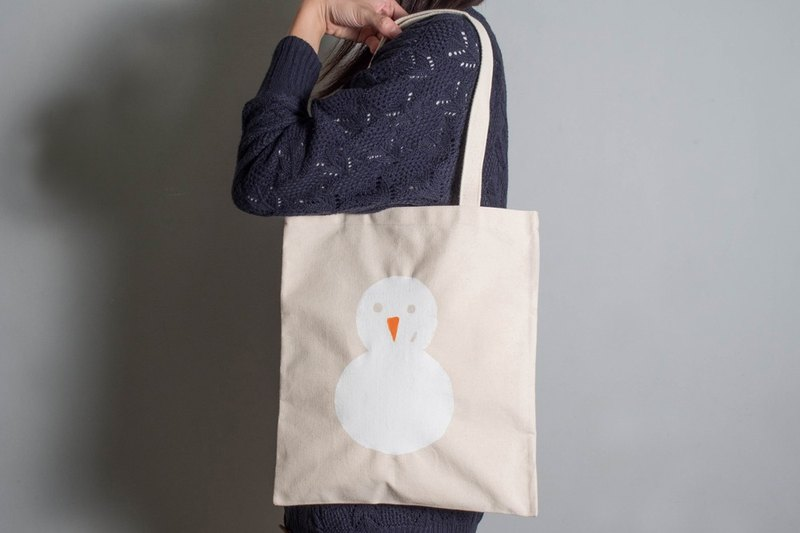 Hand-painted handprints Peibu bag [Snowman] sided pattern hand / shoulder