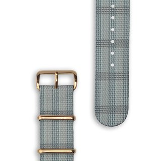 HYPERGRAND Military Strap - 20mm - FULTON Fulton Gray Check (Rose Gold Buckle)