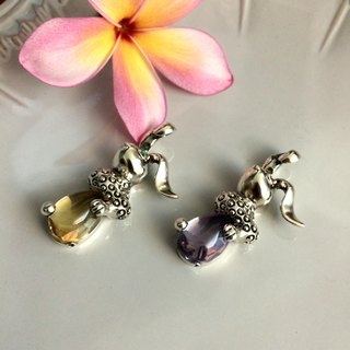 ♦ NINA SHIH JEWELRY ♦ moonlight bunny hug :: Silver Crystal Necklace (citrine, amethyst spot one each)