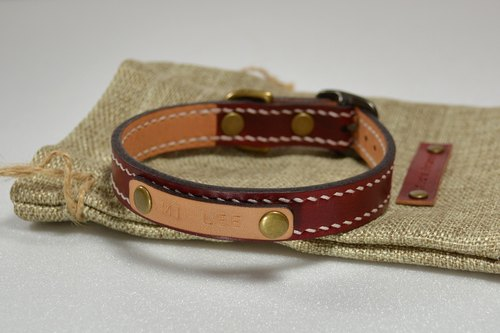 【kuo's artwork】 Hand stitched leather animal collar