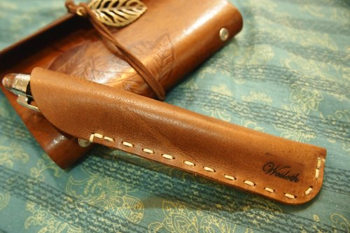 Wosloth High quality handmade leather pen pencil retro leather stationery leather travel