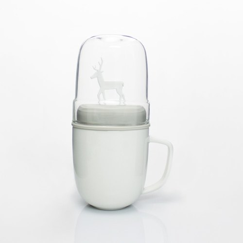 Dipper 1 ++ elk double cup group - mug + glass cup (white section / gray cover)