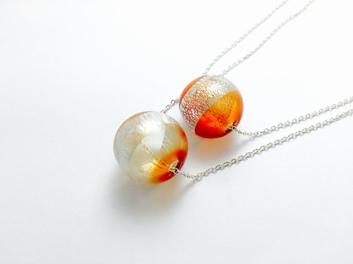 [If] [balloon] mulberry orange. Silver mouth-blown glass handmade glass beads necklace Japanese silver plated brass necklace / clavicle chain