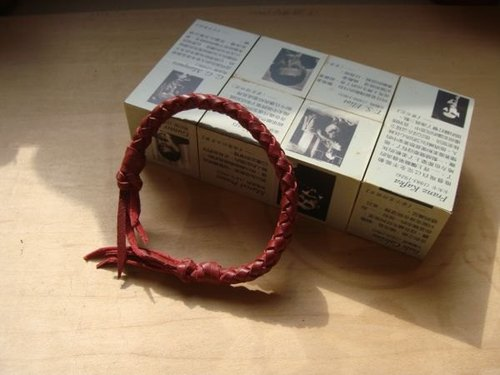 Hand-woven leather bracelet (Long) - Red