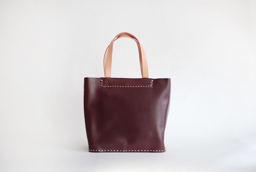 joydivision vintage burgundy whole trumpet section Sew Tote minimalist design handmade leather handbags
