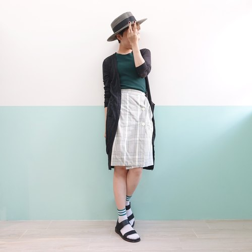 sale! off-white background green gray checkered skirt