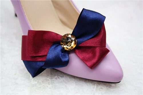 Color bow flashing simple clip heels shoes shoes shoes decorated banquet