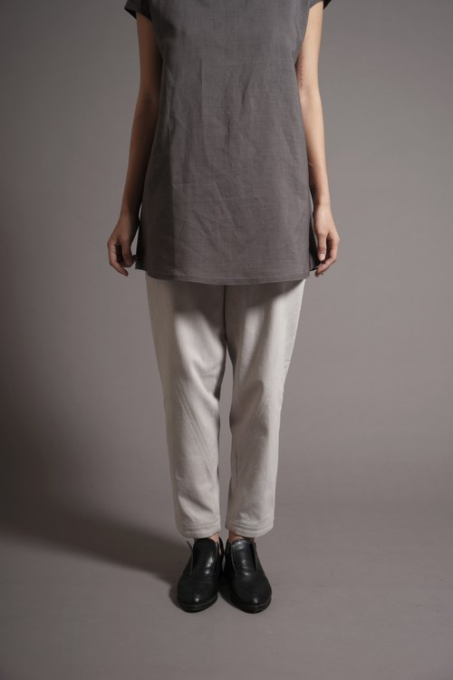 Large side pockets apricot gray pants